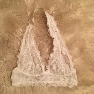 Free People White Lace Halter Bralette